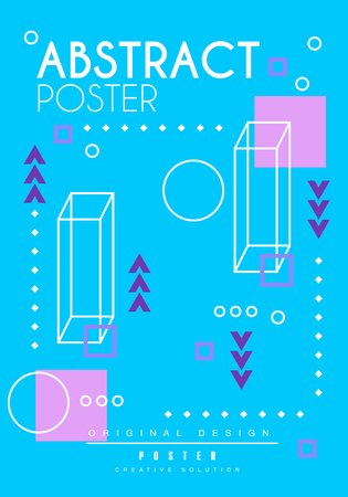 Abstract poster original design, creative blue placard template, trendy bright background for banner, invitation, flyer, cover, brochure vector Illustration, web design