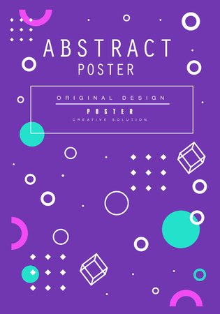 Abstract poster original design, creative solution placard template in blue color, trendy bright background for banner, invitation, flyer, cover, brochure vector Illustration