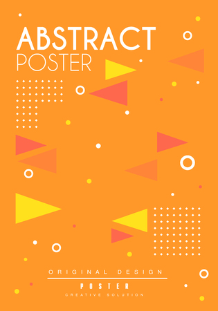 Abstract poster, bright placard template with geometric shapes, creative graphic design for banner, invitation, flyer, cover, brochure vector Illustration, web design