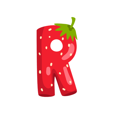 Letter R of English alphabet made from ripe fresh srawberry, bright red berry font vector Illustration isolated on a white background. Illusztráció