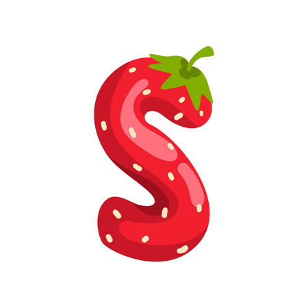 Letter S of English alphabet made from ripe fresh srawberry, bright red berry font vector Illustration isolated on a white background. Vetores