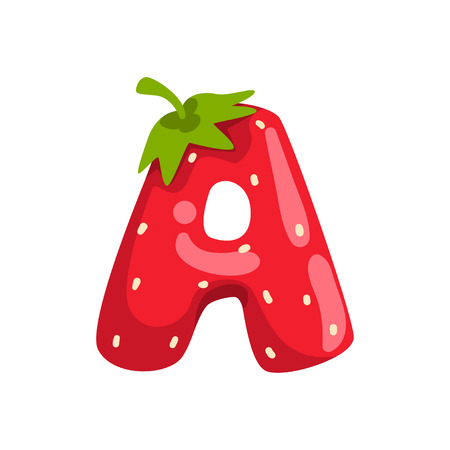 Letter A of English alphabet made from ripe fresh srawberry, bright red berry font vector Illustration isolated on a white background.