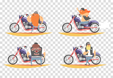Bikers set, brutal bearded men riding chopper motorcycles vector Illustration on a checkered background.