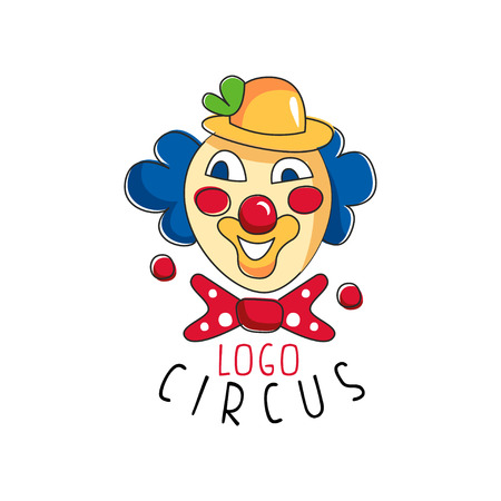 Circus, emblem with clown for amusement park, festival, party, creative template of flyear, posters, cover, banner, invitation vector Illustration
