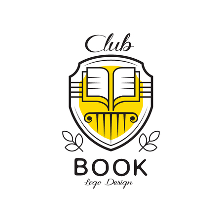 Book club design, heraldic shield with open book, badge for for bookstore, university, library, book festival. vector Illustration