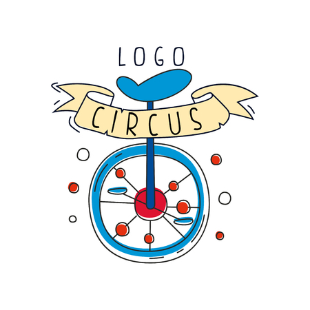Circus original design, creative badge with unicycle can be used for flyear, posters, cover, banner, invitation vector Illustration