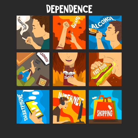 Bad habits and addictions of modern society set, cigarette, drug, alcohol, fast food, gadgets, shopping addiction vector Illustrations, web design