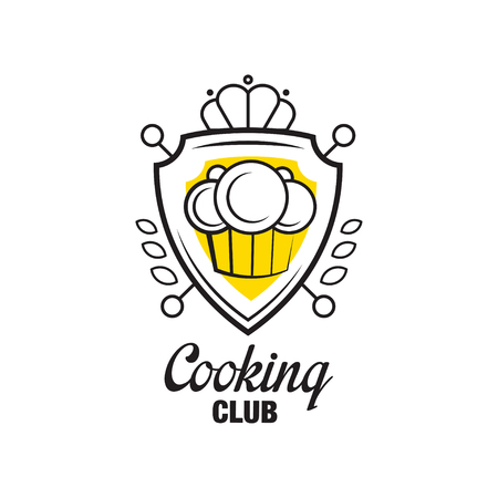 Cooking Club Design Heraldic Shield With Chef Hat Badge Can Be Used For
