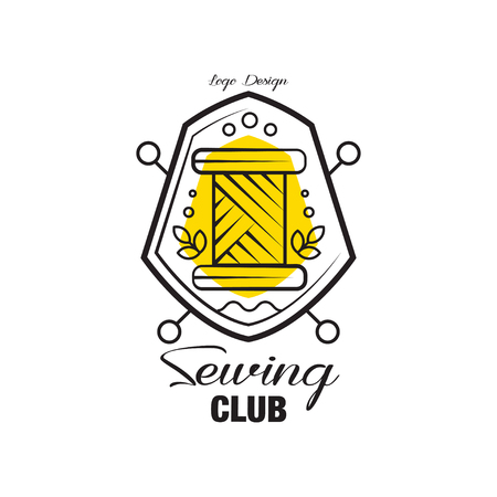 Sewing club design, emblem with heraldic shield can be used for sewing shop, knit club, atelier, sewing workshop vector Illustration on a white background Stock Illustratie