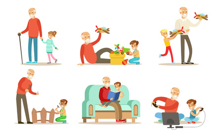 Abuelo pasar tiempo con el conjunto de nietos, abuelos jugando, caminando, leyendo libros y divirtiéndose con sus nietos vector ilustraciones aisladas sobre fondo blanco.