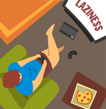 Laziness guy sitting at home and playing games, bad habit and addiction of modern society vector Illustration, web design