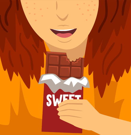 Sweet dependence, bad habit and addiction of modern society vector Illustration Illustration