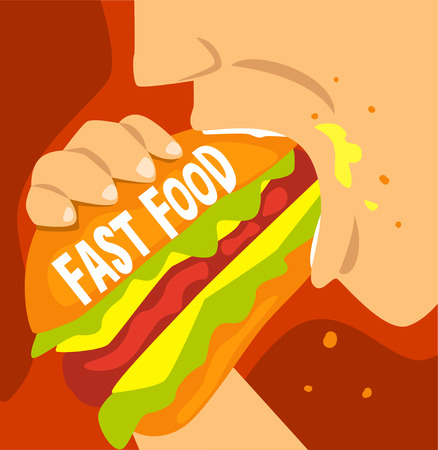 Fast food dependence, bad habit and addiction of modern society vector Illustration, web design