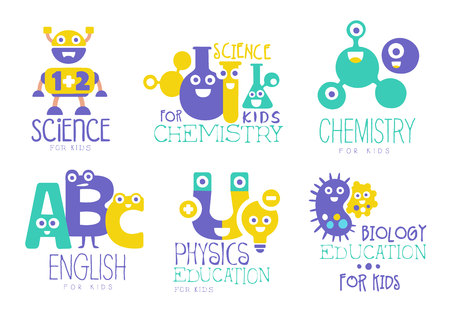 Kids education and learning set, chemistry, physics, english, biology creative badges vector Illustrations on a white background