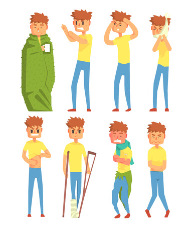 Sick young man characters set, guy suffering from different symptoms vector Illustrations isolated on a white background. Ilustração