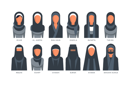 Collection of Muslim traditional hijab type models, arab women in shayla, dupatta, tuding, esarp, chador, al-amira, burga, khimar, bandari burga vector Illustrations on a white background