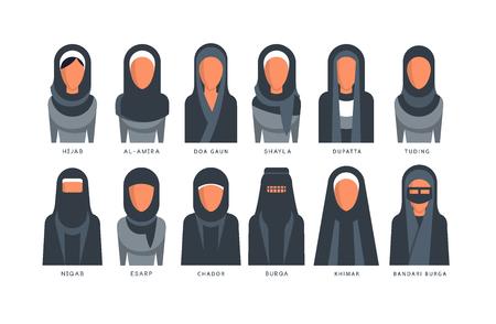 Collection of Muslim traditional hijab type models, arab women in shayla, dupatta, tuding, esarp, chador, al-amira, burga, khimar, bandari burga vector Illustrations on a white background