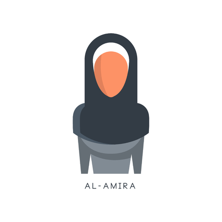 Woman in traditional Muslim Al-amira headdress vector Illustration on a white background