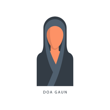 Woman in Muslim Doa Gaun headdress, female avatar in traditional Islamic clothing vector Illustration on a white background Stock Illustratie