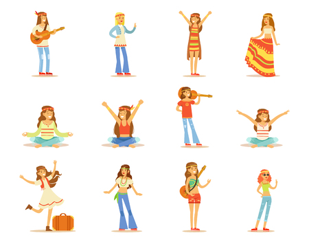 Hippie girls set, young beautiful women with long hair dressed in Hippy subculture clothes vector Illustrations isolated on a white background.