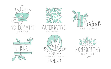 Alternative medicine  design set, herbal medicine, homeopathy center hand drawn vector Illustrations on a white background Illustration