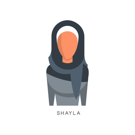 Woman in traditional Muslim Shayla headdress vector Illustration on a white background Stock Illustratie