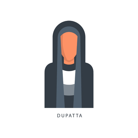 Woman in Muslim Dupatta headdress, female avatar in traditional Islamic clothing vector Illustration on a white background