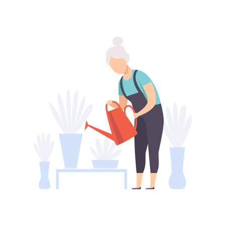 Senior woman character watering flowers with can, elderly people leading an active lifestyle social concept vector Illustration isolated on a white background. Ilustração