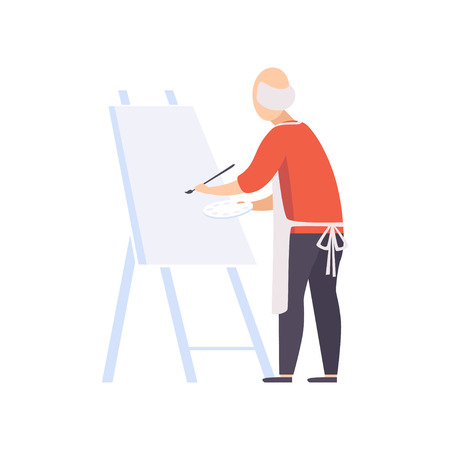Senior man character painting on canvas, elderly people leading an active lifestyle social concept vector Illustration isolated on a white background.