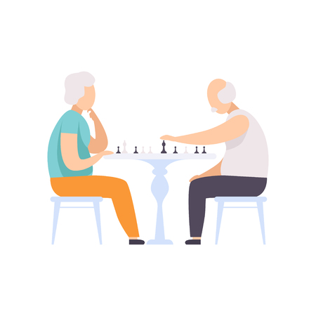 Senior couple characters playing chess, elderly people leading an active lifestyle social concept vector Illustration isolated on a white background.