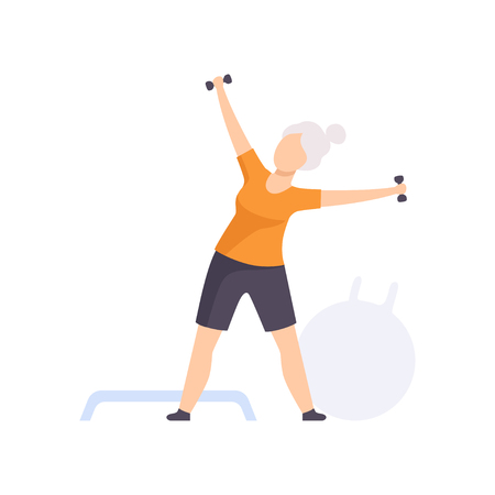 Sportive senior woman character exercising with dumbbells, elderly people leading an active lifestyle social concept vector Illustration isolated on a white background.