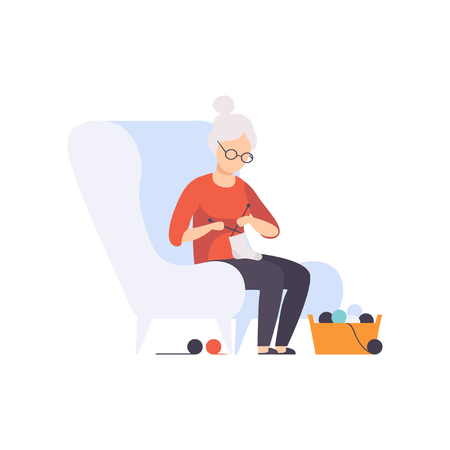 Senior woman character sitting in armchair and knitting, elderly people leading an active lifestyle social concept vector Illustration isolated on a white background.
