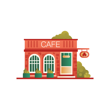 Street cafe, city public building, front view vector Illustration on a white background Illustration