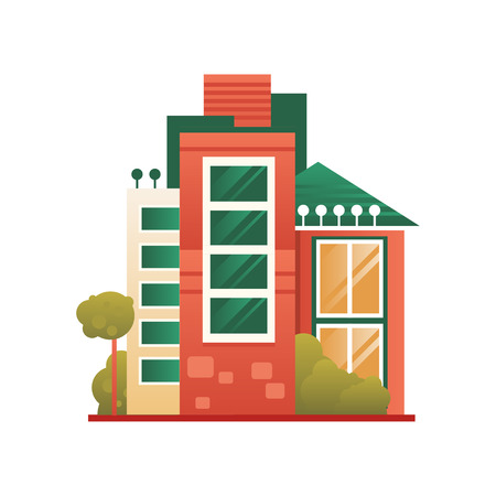 Modern house building, real estate, front view vector Illustration on a white background