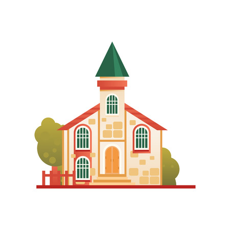 Christian church cuilding, front view vector Illustration on a white background