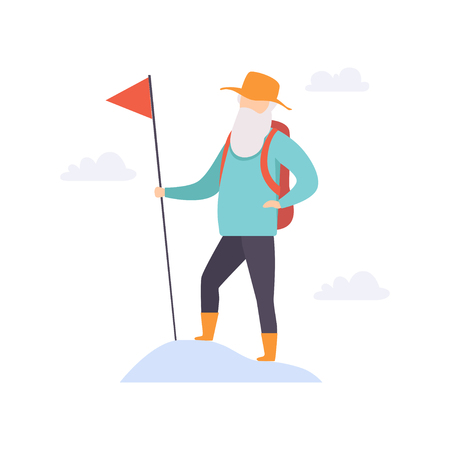 Senior man character traveling with backpack, elderly people leading an active lifestyle social concept vector Illustration isolated on a white background. Archivio Fotografico - 106031562