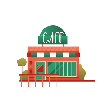 Small street cafe, city public building, front view vector Illustration on a white background Illustration