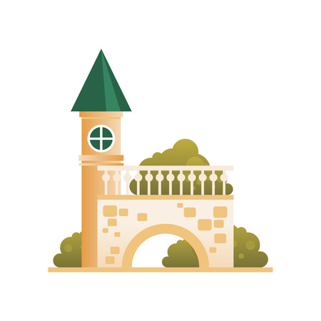 Ancient brick fortress, citadel with towers, bridge and arch vector Illustration on a white background