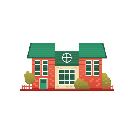 Traditional cottage building, real estate, front view vector Illustration on a white background Ilustração
