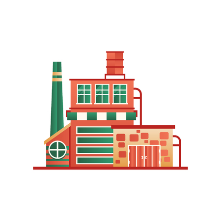 Industrial building factory or plant, front view vector Illustration isolated on a white background.