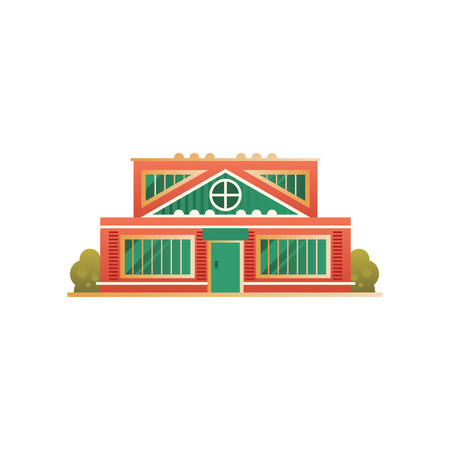 City public building facade vector Illustration on a white background