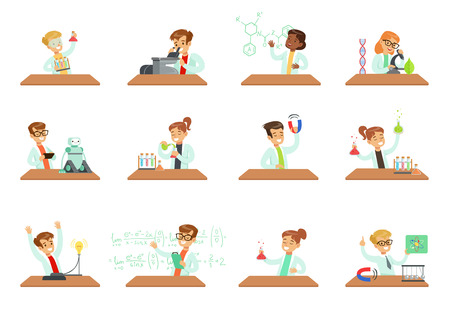 Kids in lab clothing doing scientific experiments with lab equipment in school science class laboratories, educational science activities for children vector Illustrations isolated on a white backgrou