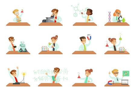 Kinder in Laborkleidung, die wissenschaftliche Experimente mit Laborgeräten in den Laboratorien der Schulwissenschaftsklasse durchführen, erziehungswissenschaftliche Aktivitäten für Kinder Vektor-Illustrationen isoliert auf weißem Hintergrund.