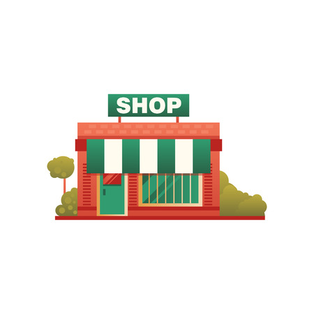 Small shop city public building, front view vector Illustration on a white background