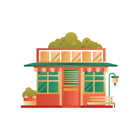 Public municipal city building, front view vector Illustration isolated on a white background. 向量圖像