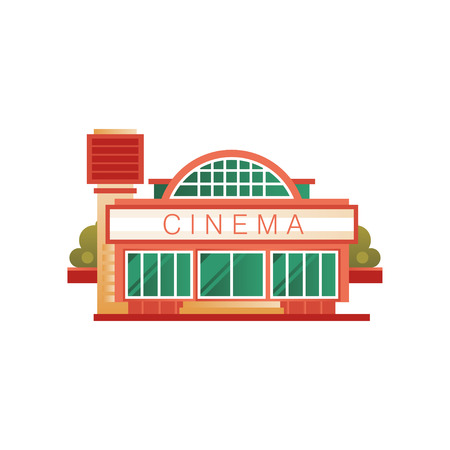 Cinema building, front view vector Illustration isolated on a white background.