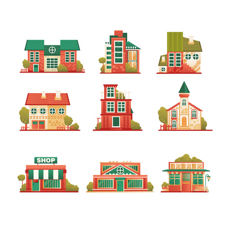 Urban and suburban buildings facade set, brick private houses and municipal public buildings vector Illustrations isolated on a white background.
