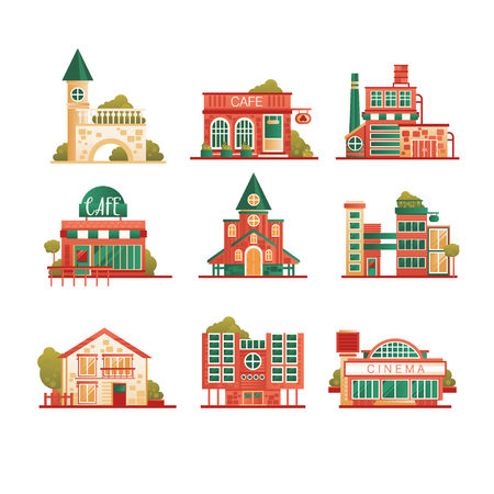 Collection of urban and suburban houses set, private houses and municipal public buildings vector Illustrations isolated on a white background.