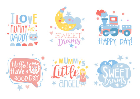 Cute hand drawn decor elements with motivation phrases, card templates for baby shower, kids party, baby products vector Illustrations isolated on a white background. Illustration