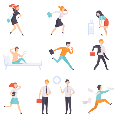 People running to work, businesspeople characters are late for work vector Illustration isolated on a white background. Иллюстрация
